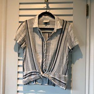 Universal Thread Striped Linen Blue/White Shirt
